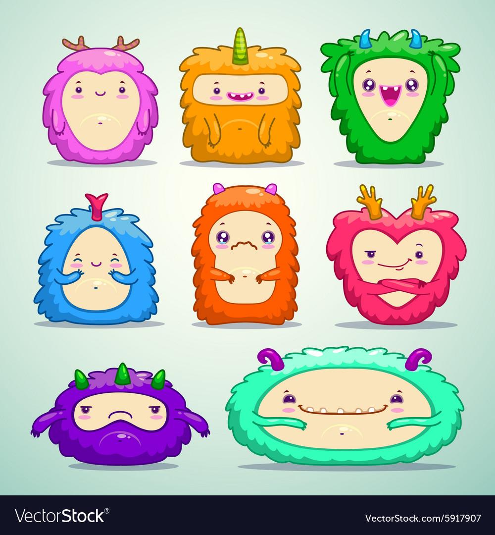Monsters set vector image