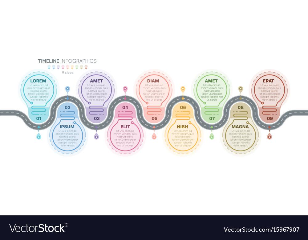 Navigation map infographics 9 steps timeline vector image