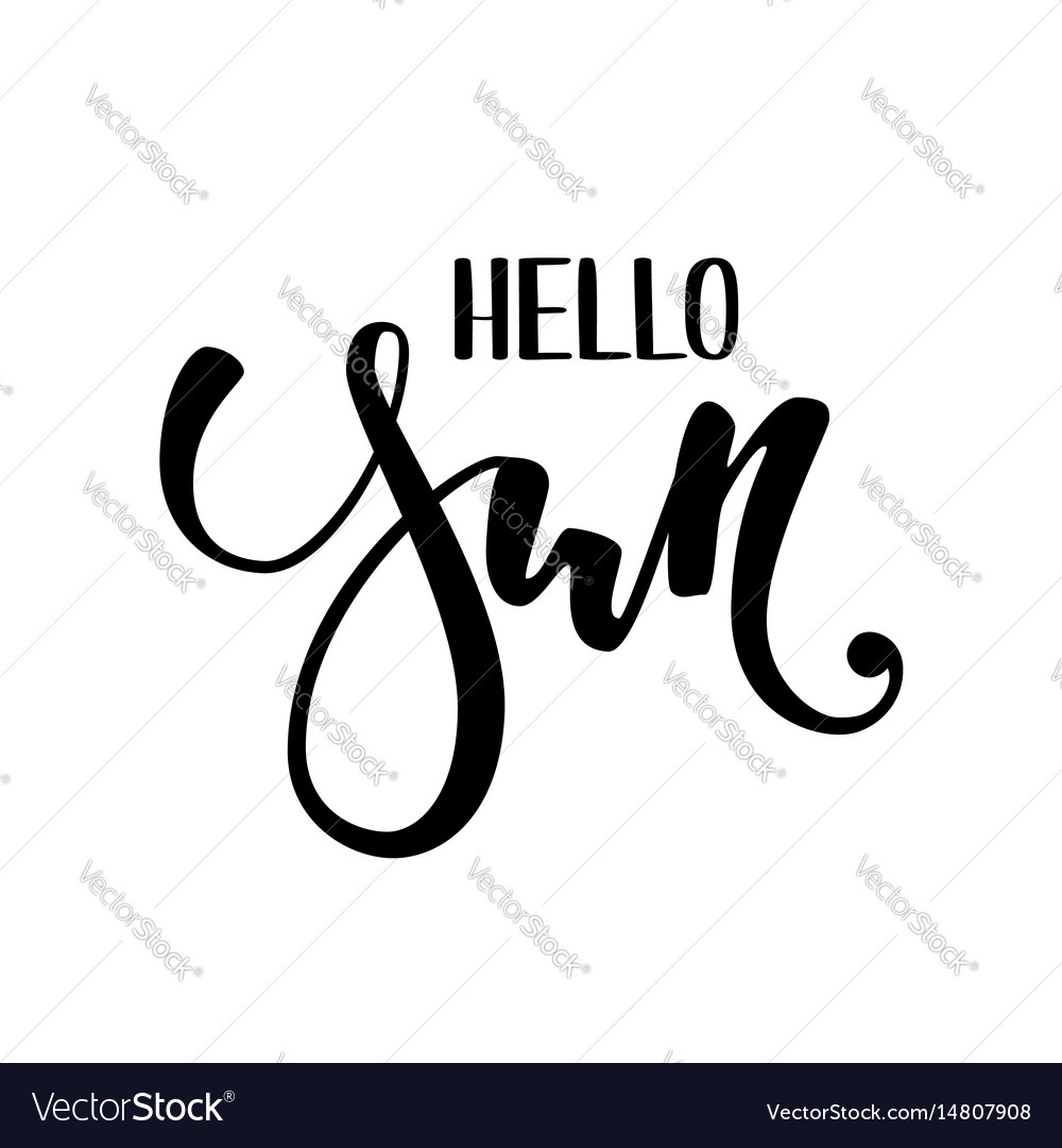 Hello sun hand drawn calligraphy and brush pen vector image