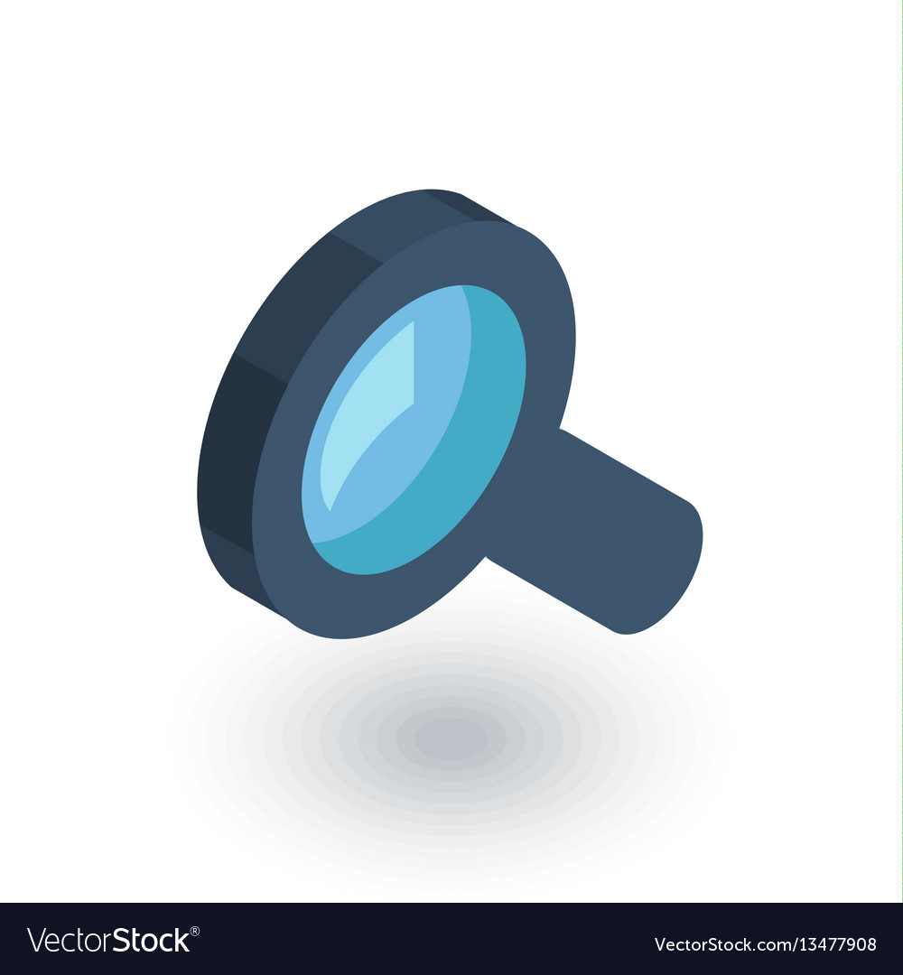 Search magnifying glass isometric flat icon 3d vector image