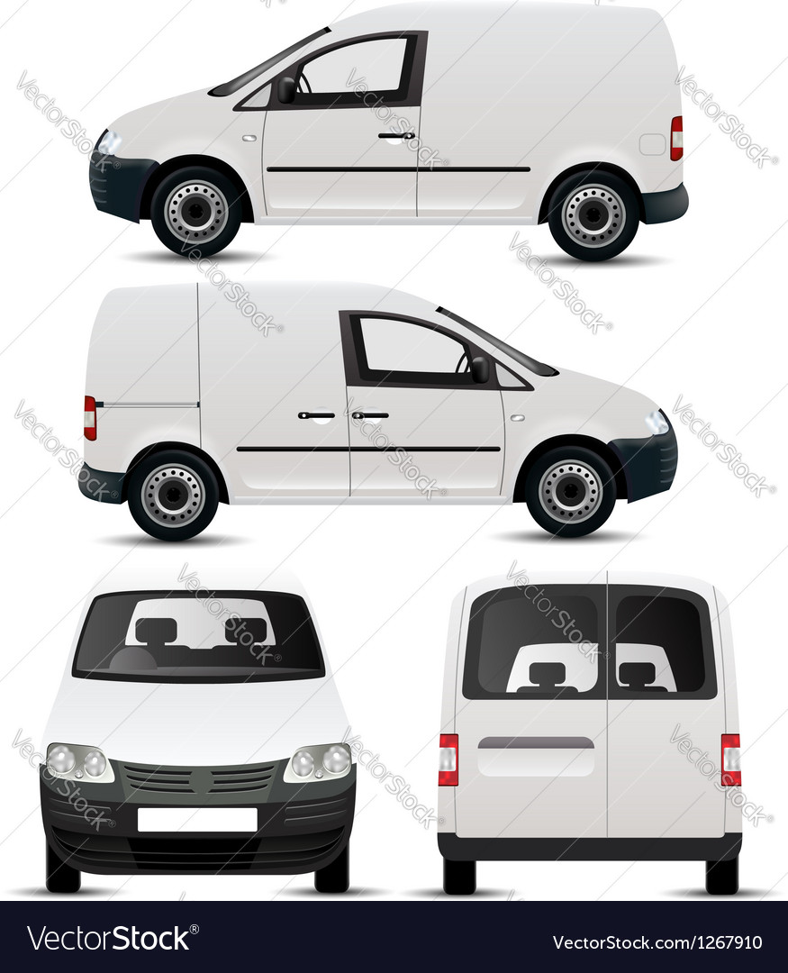 White Commercial Vehicle Mockup vector image