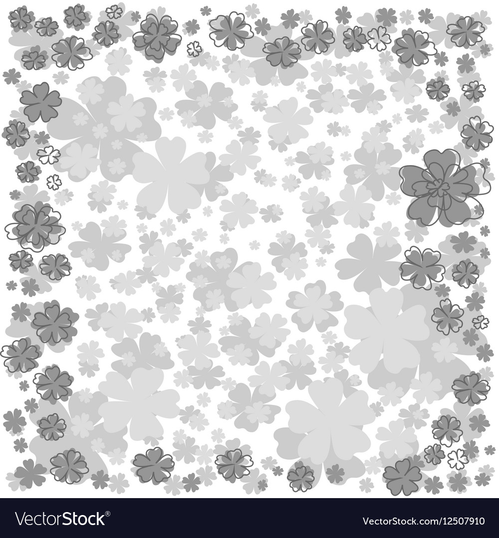 Floral frame with gray flowers on white background vector image