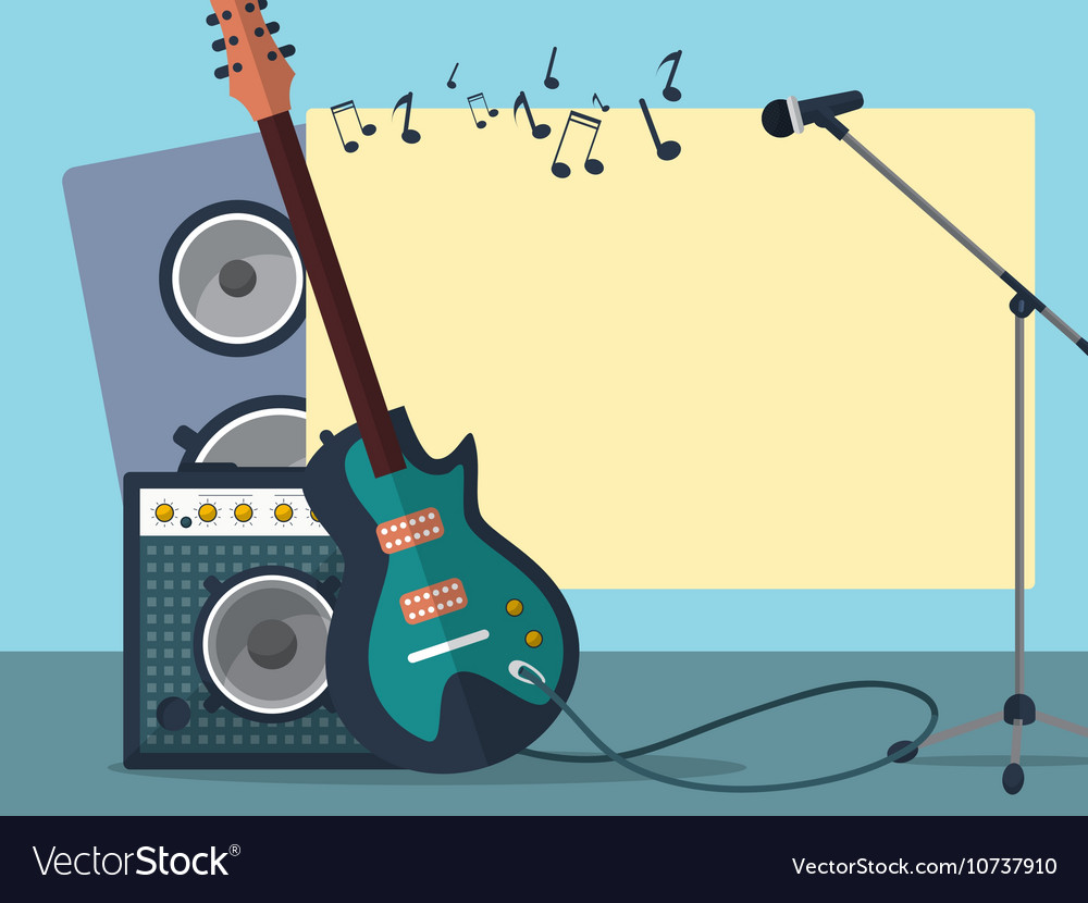 Frame with a guitar combo amp microphone speaker vector image