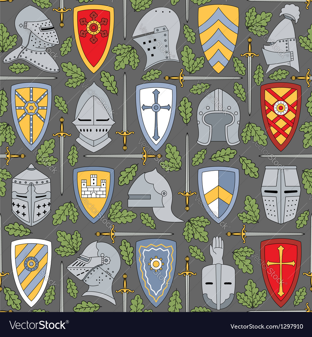 Seamless pattern with knightly helmets and shields vector image
