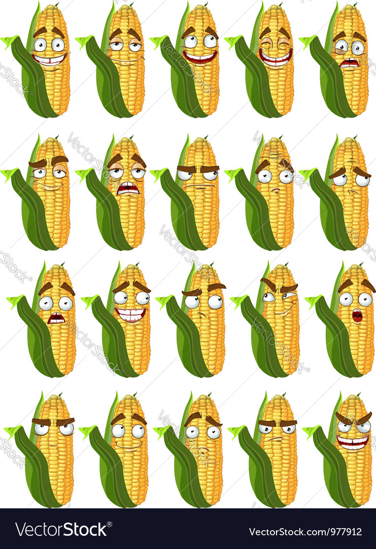 Cute cartoon maize smile with many expressions vector image