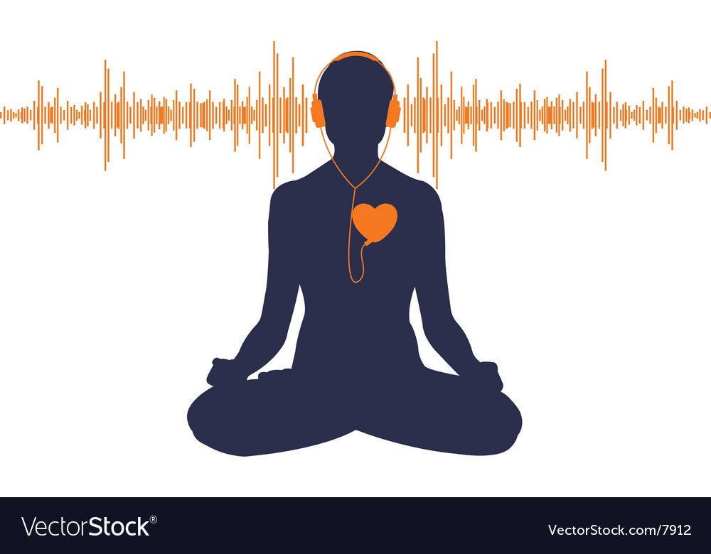 Yoga with headphones vector image
