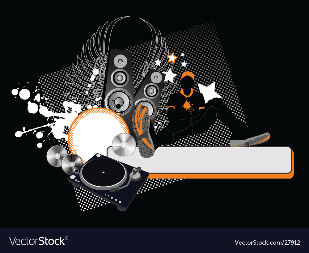 Young men and loudspeakers vector image