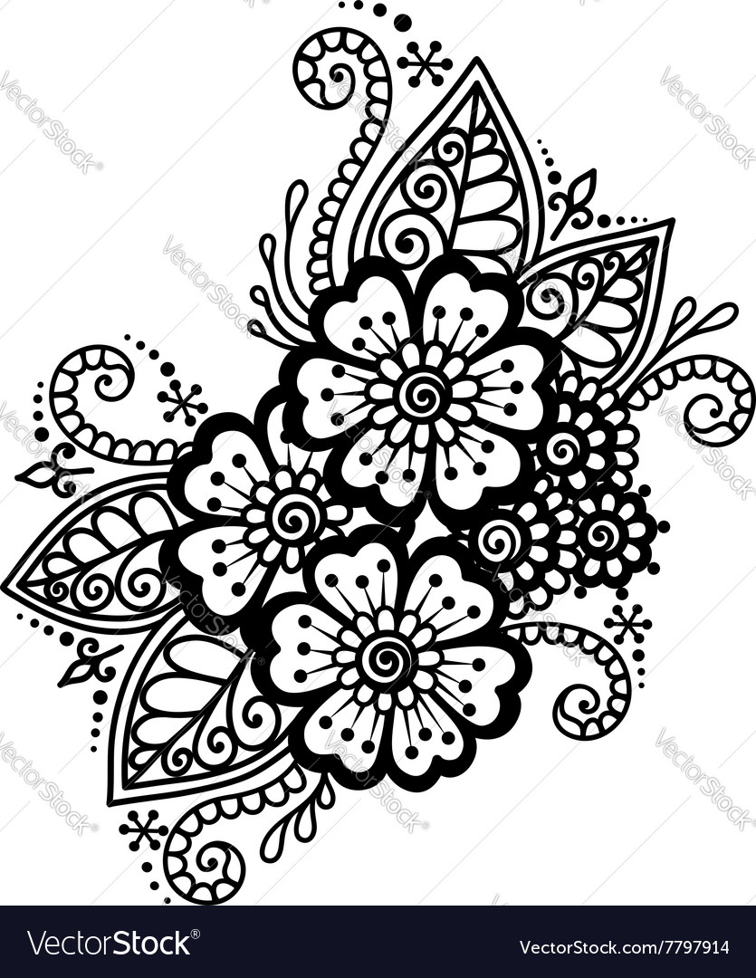 hand drawn abstract henna mehndi flower ornament vector image