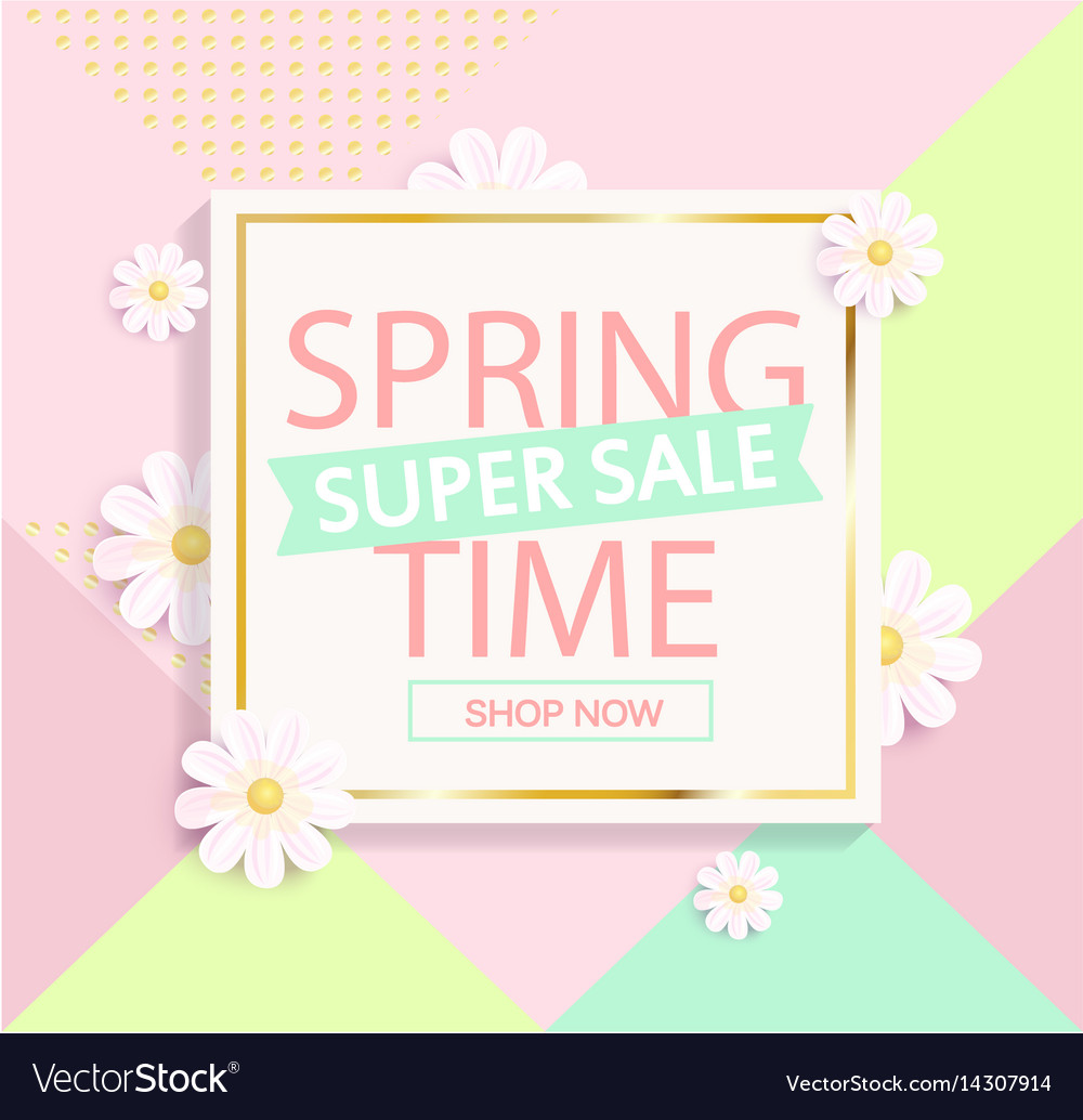 Spring sale geometric background vector image