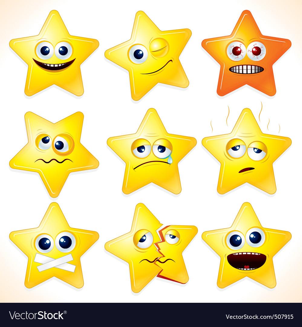 Funny cartoon stars emotions vector image