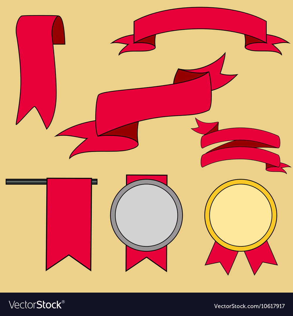 Big red ribbons set isolated on beige background vector image