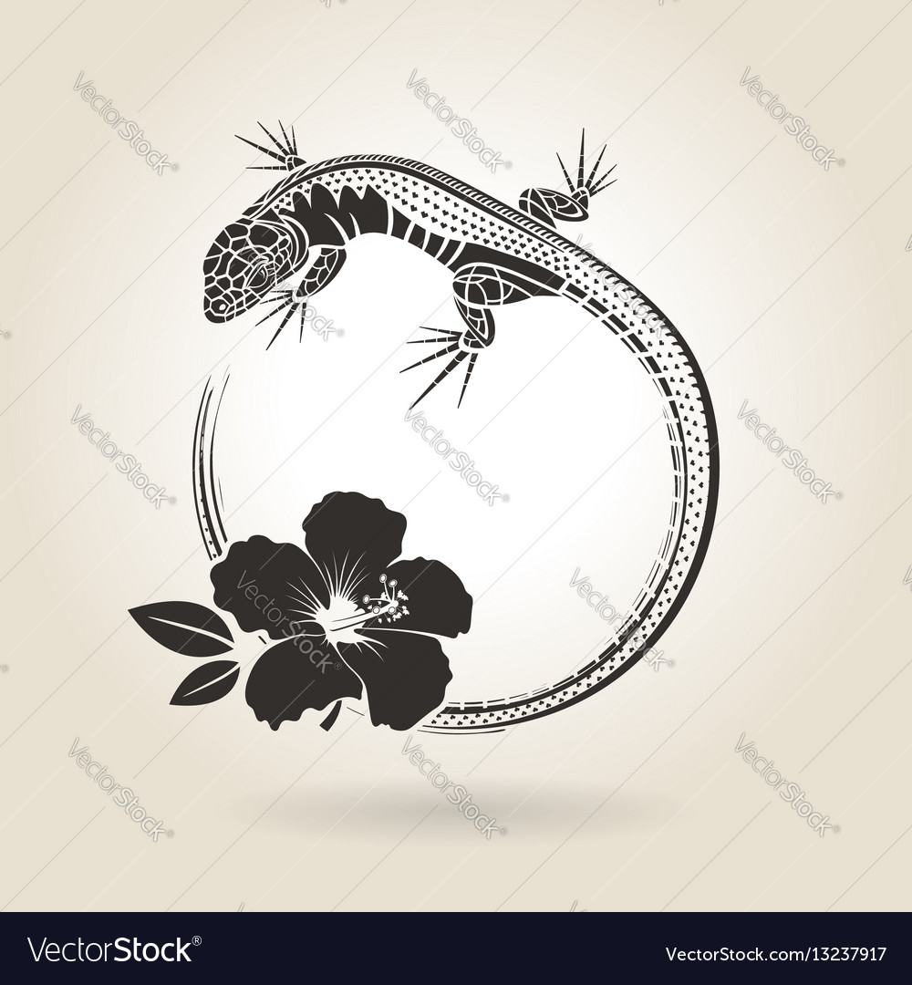 Lizard and hibiscus vector image