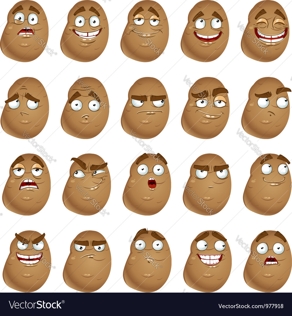 Cute cartoon potatoes smile with many expressions vector image