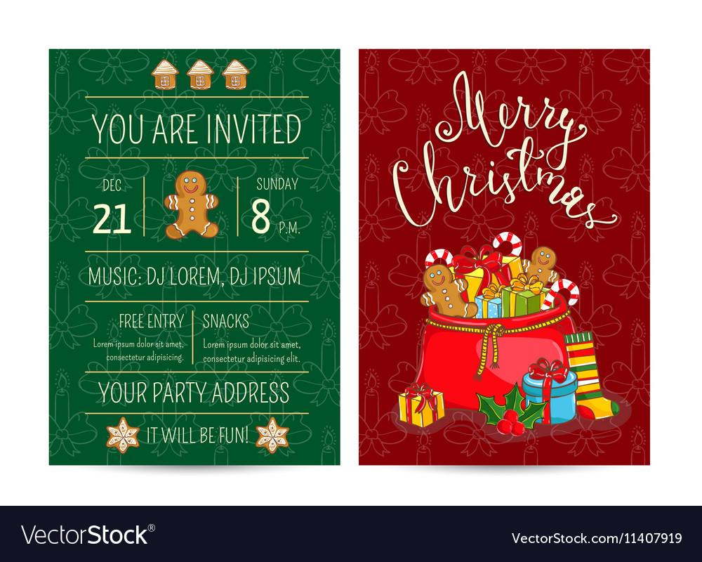 Bright Cartoon Invitation on Christmas Fun Party vector image