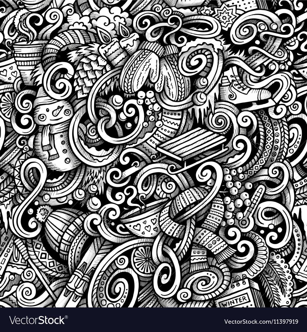 Cartoon doodles Winter season trace seamless vector image