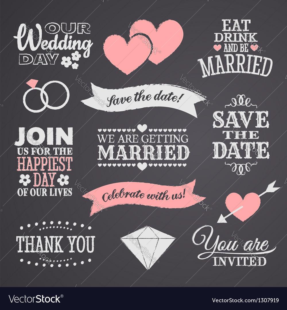 Chalkboard Wedding Elements Set vector image
