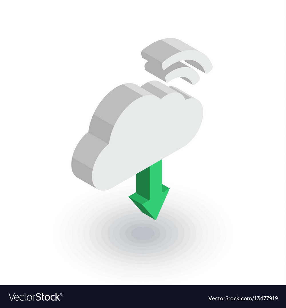 Cloud download computer technology isometric flat vector image