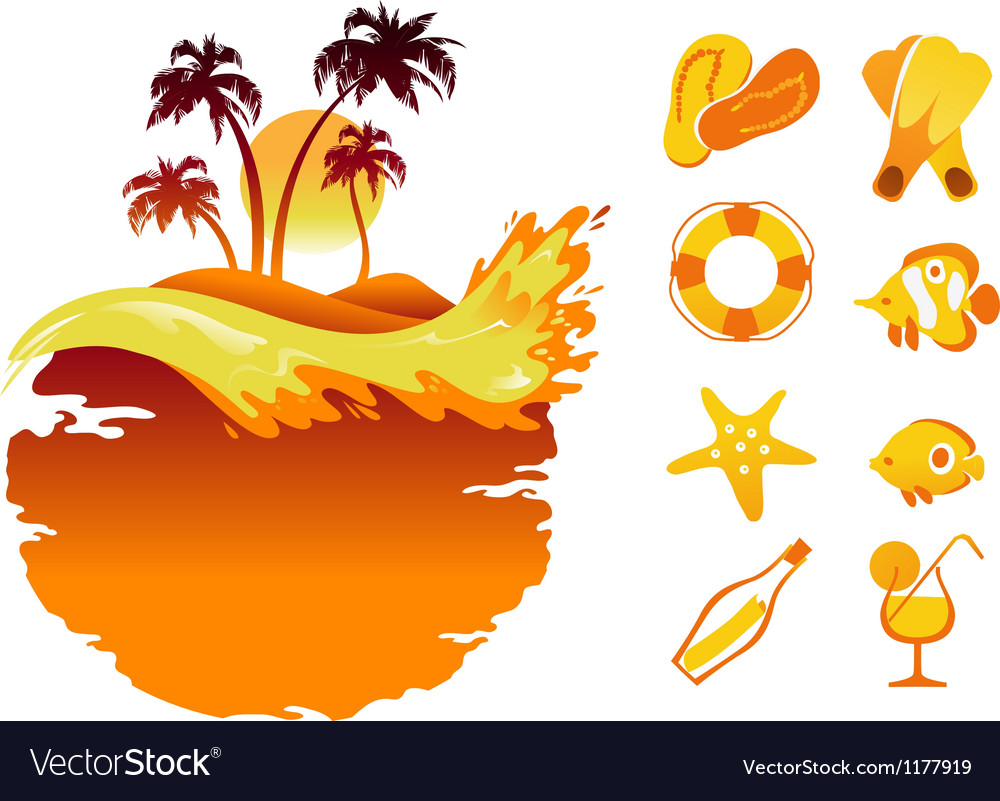 Landscape of Tropical Banners and Collection of Be vector image