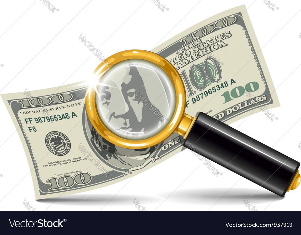 Magnifier and money vector image
