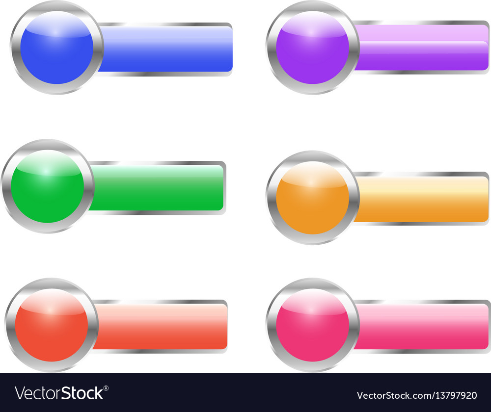 Web buttons bright colored vector image