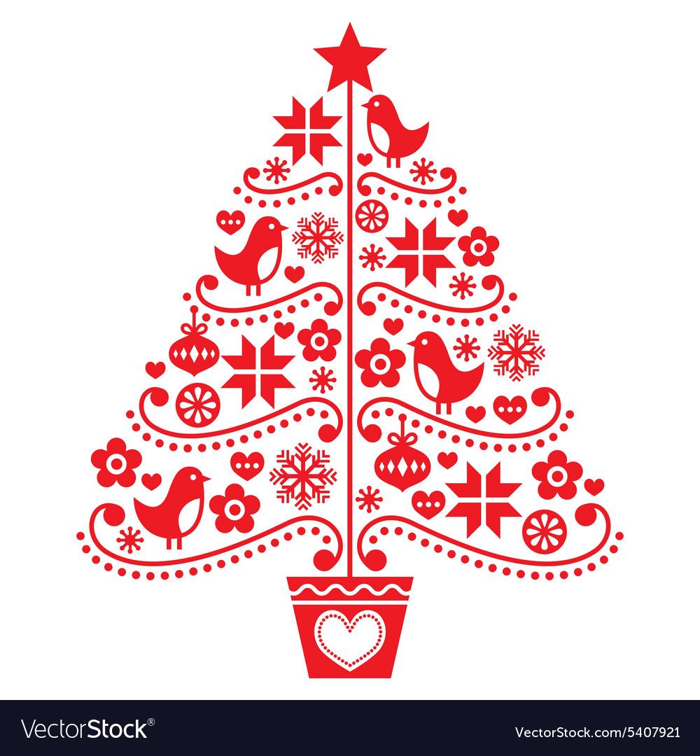 christmas tree design folk style with birds vector image