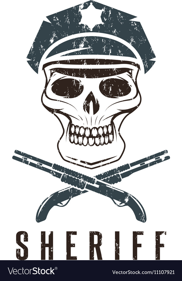 Rustic Sheriff Skull Label vector image