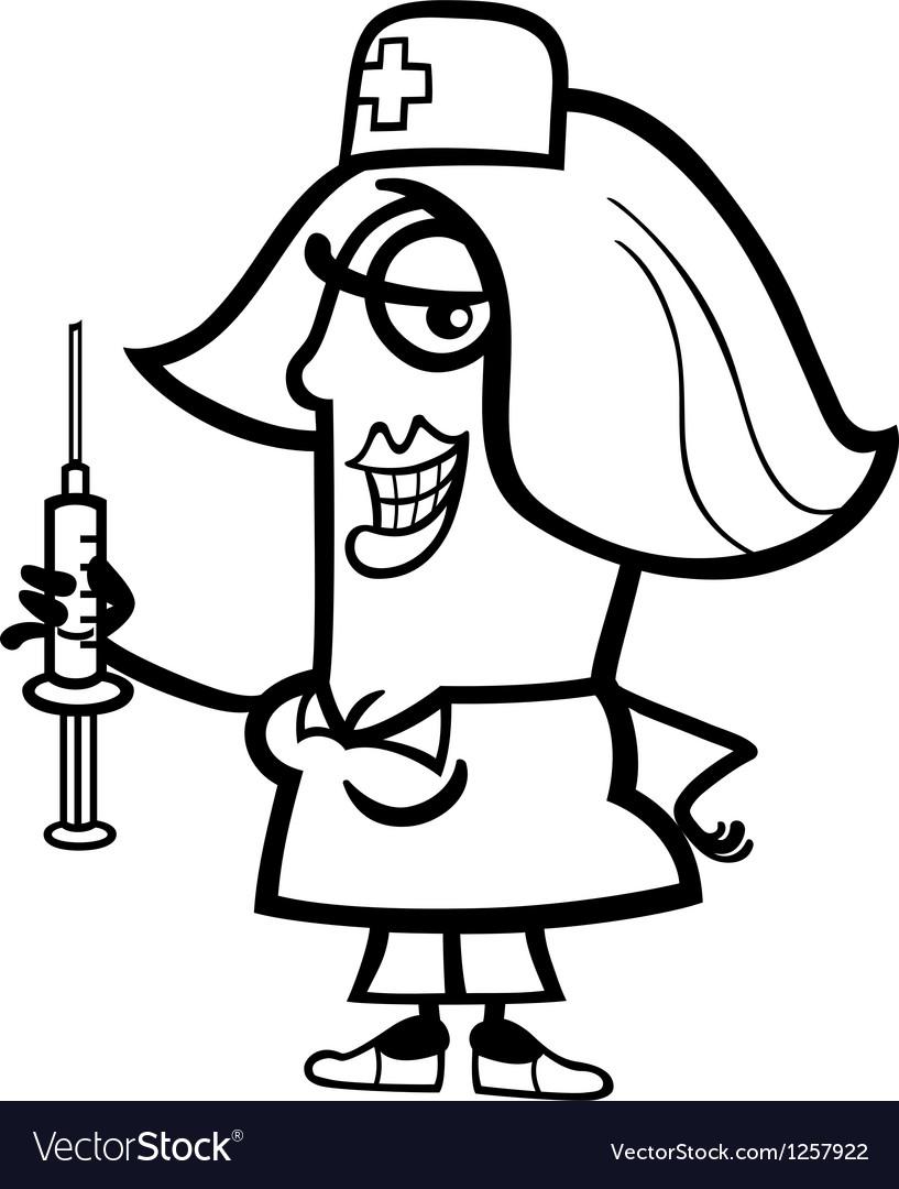 Nurse with syringe cartoon vector image
