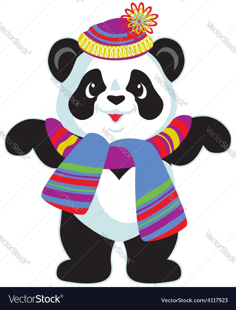Cartoon panda wearing hat vector image