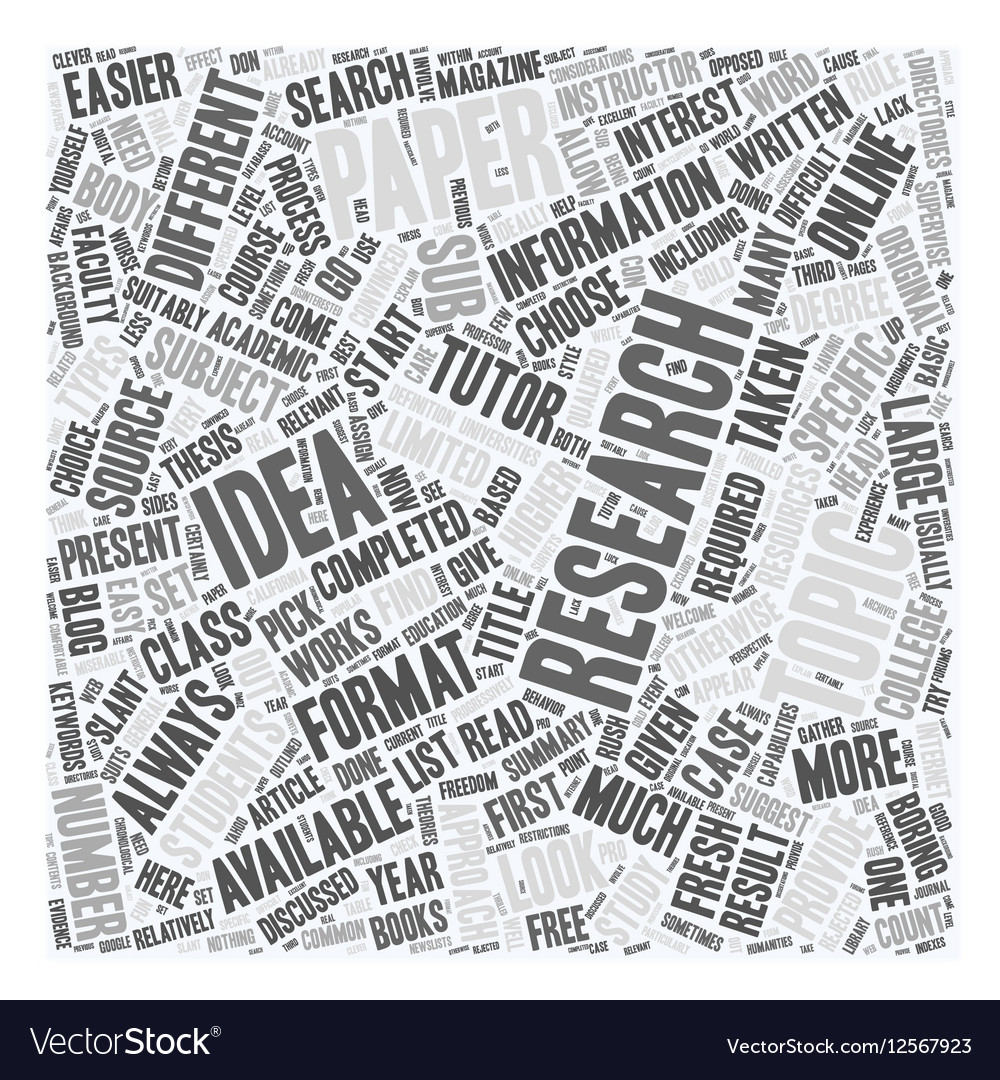 Research Paper Topic Ideas text background vector image