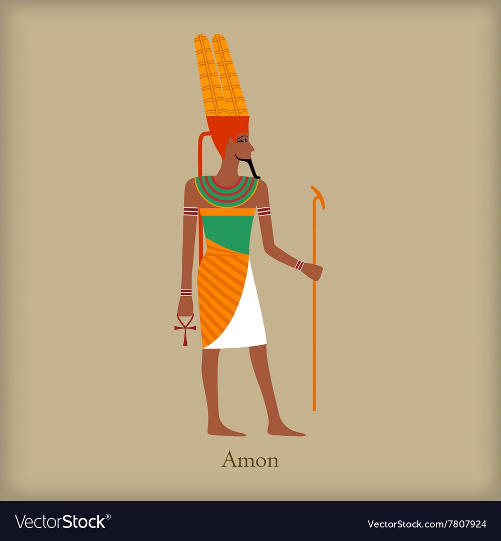 Amon God of the wind icon flat style vector image