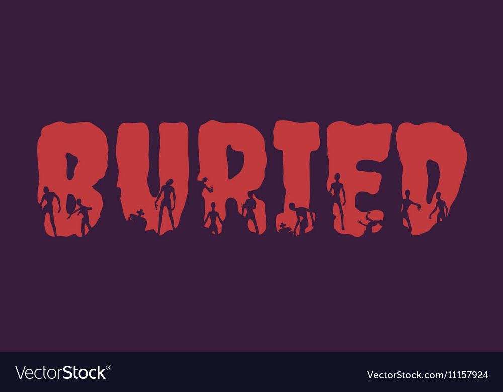 Buried word and silhouettes on them vector image