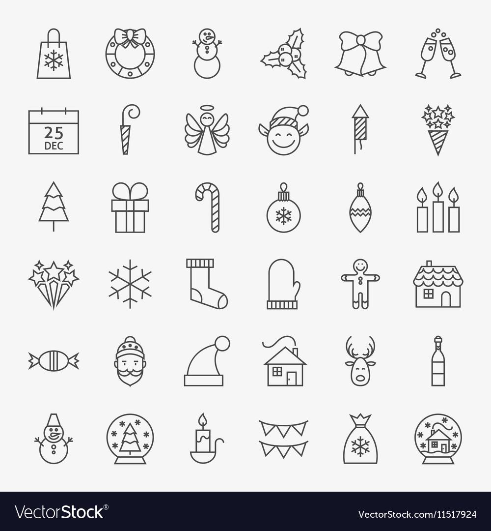 Line Christmas Icons Set vector image