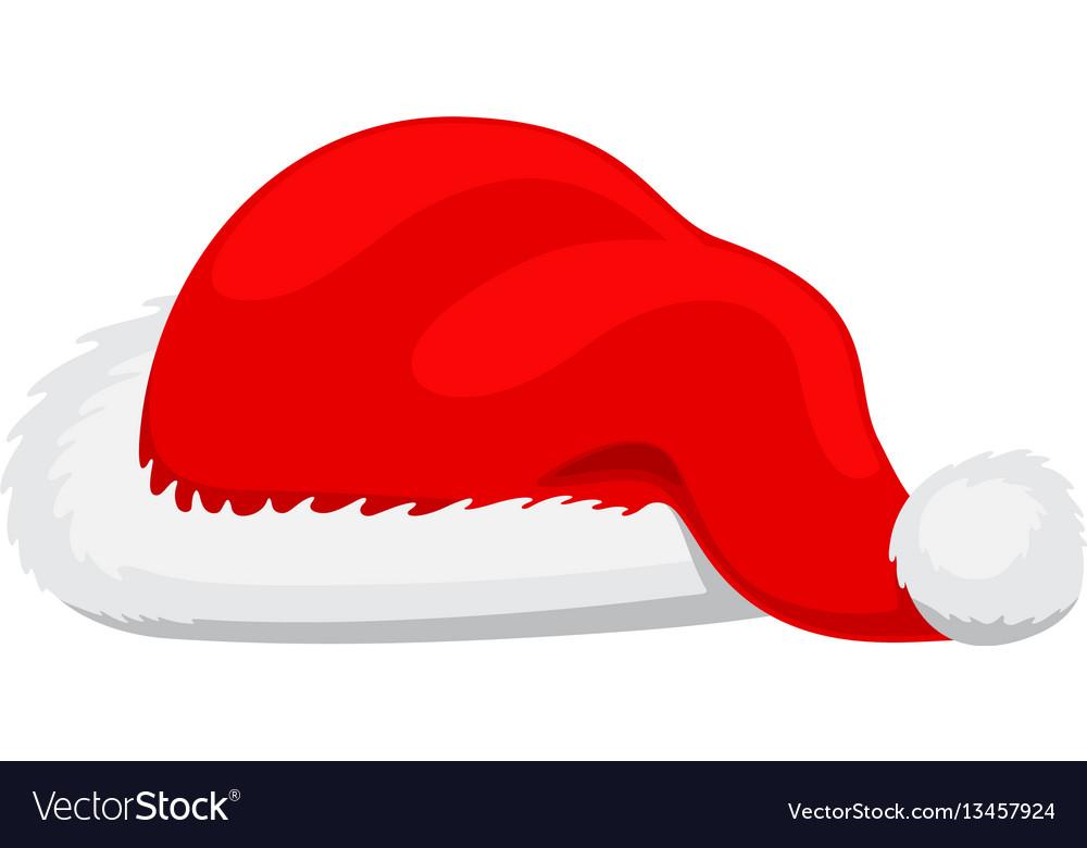 Single santa claus red hat realistic vector image