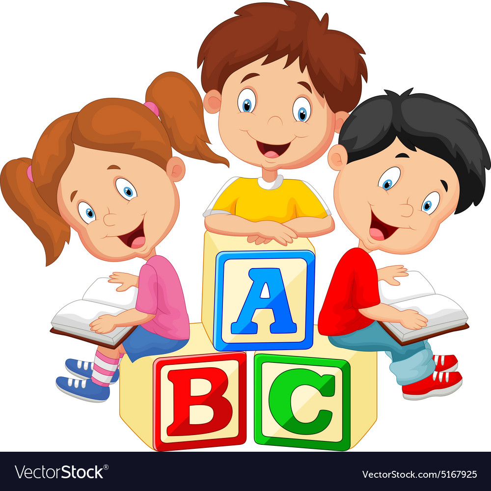 children reading book royalty free vector image