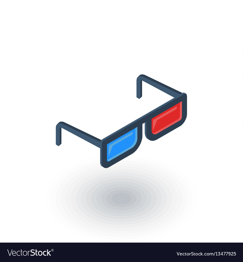 Glasses for movie isometric flat icon 3d vector image