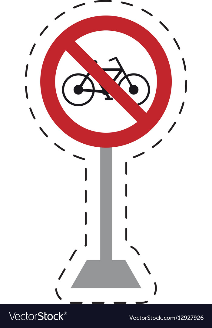 Traffic prohibited bicycle road vector image