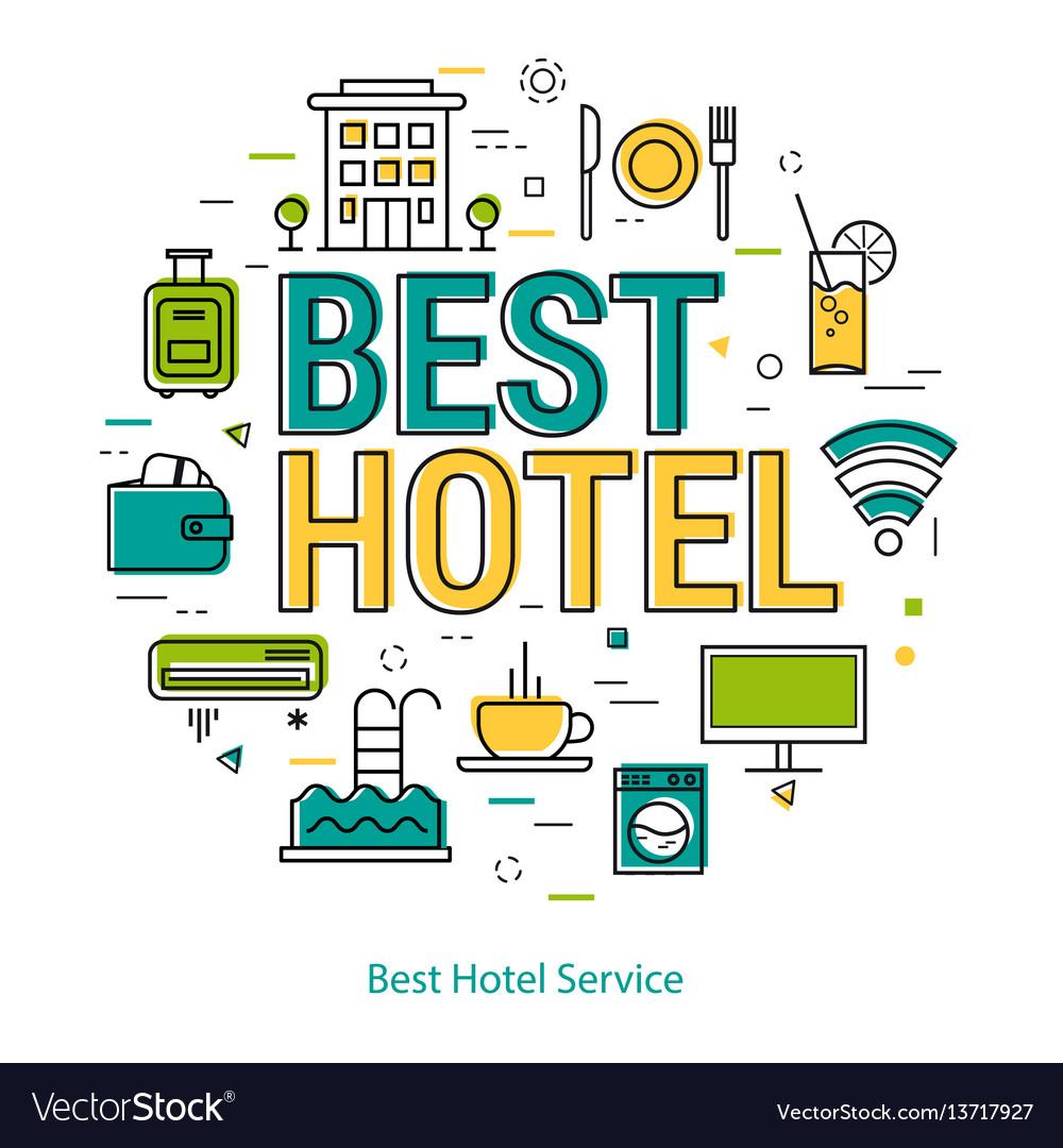 Best hotel service - line concept vector image