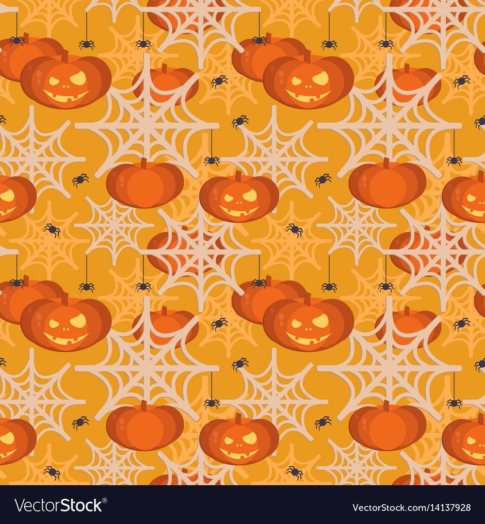 Halloween pumpkin head seamless pattern vector image