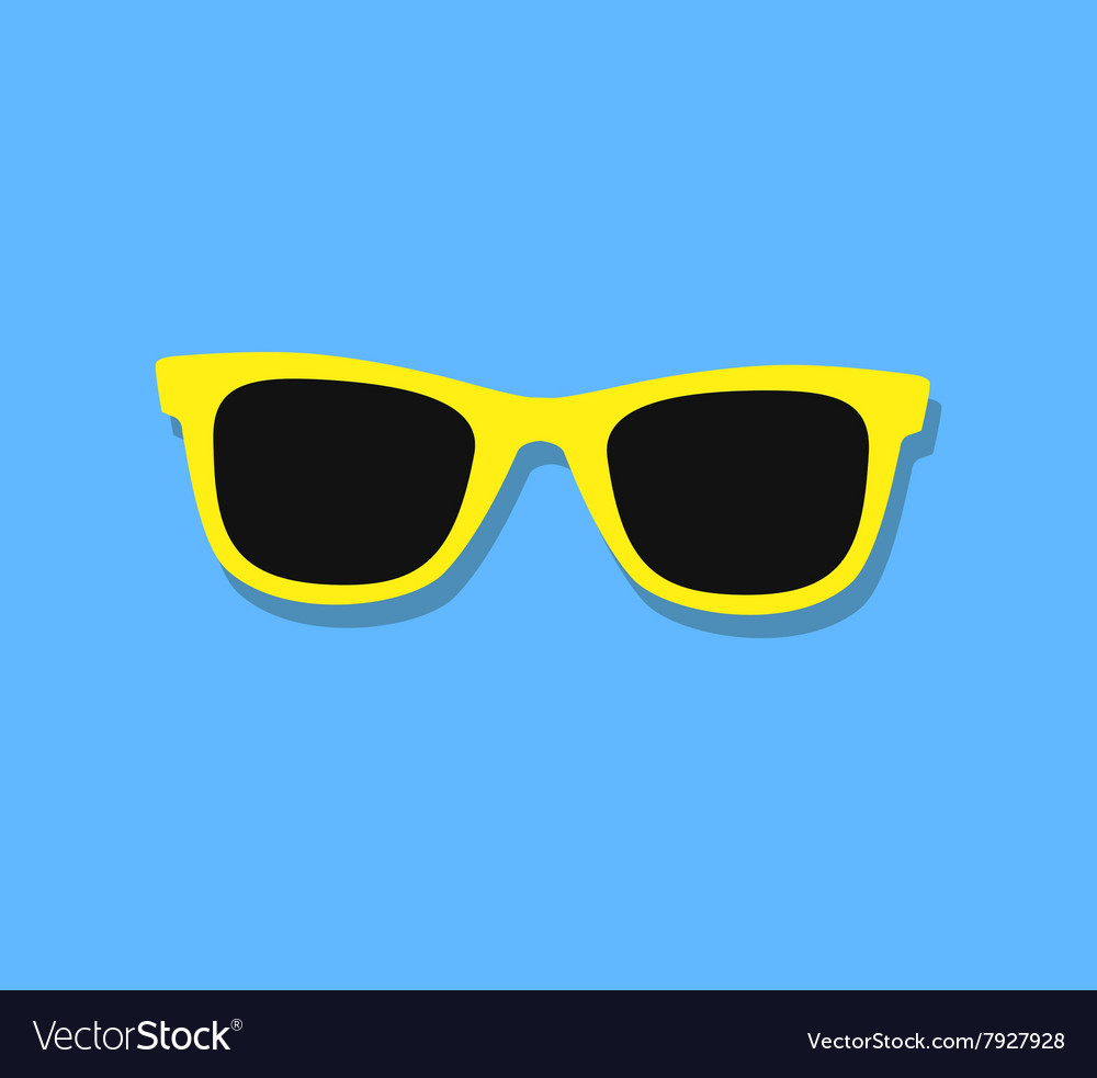 Sunglasses Icon Yellow sunglasses on blue vector image