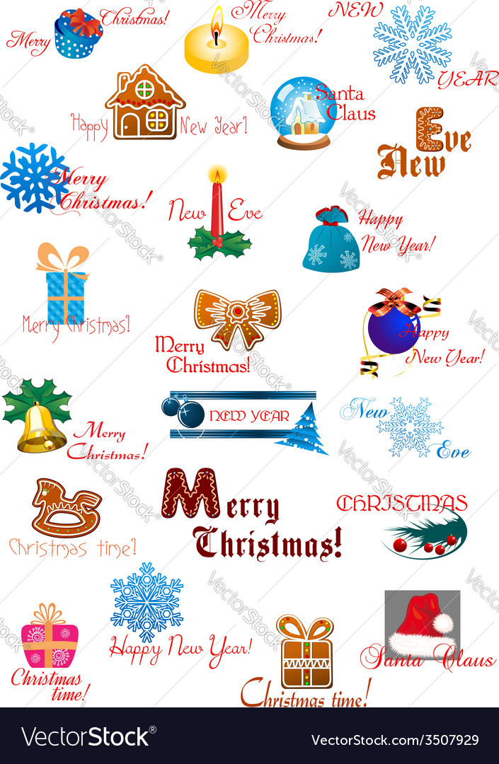 Traditional Christmas decoration collection vector image
