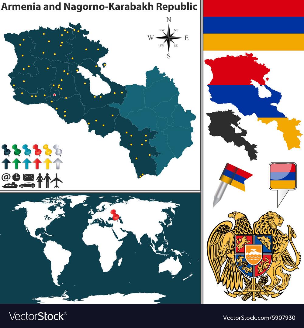 Armenia with Nagorno Karabakh Republic map Vector Image