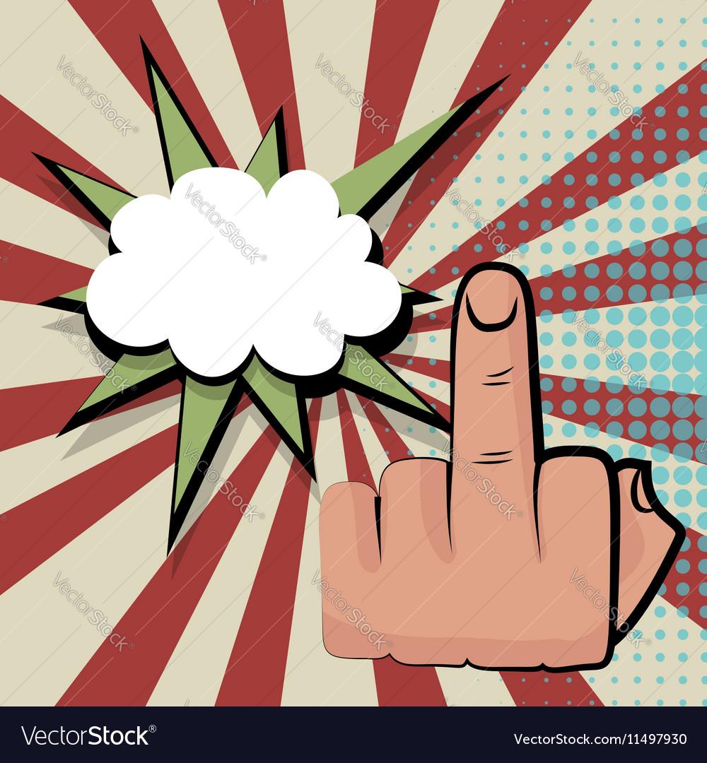 Provocative middle finger comic retro pop art vector image