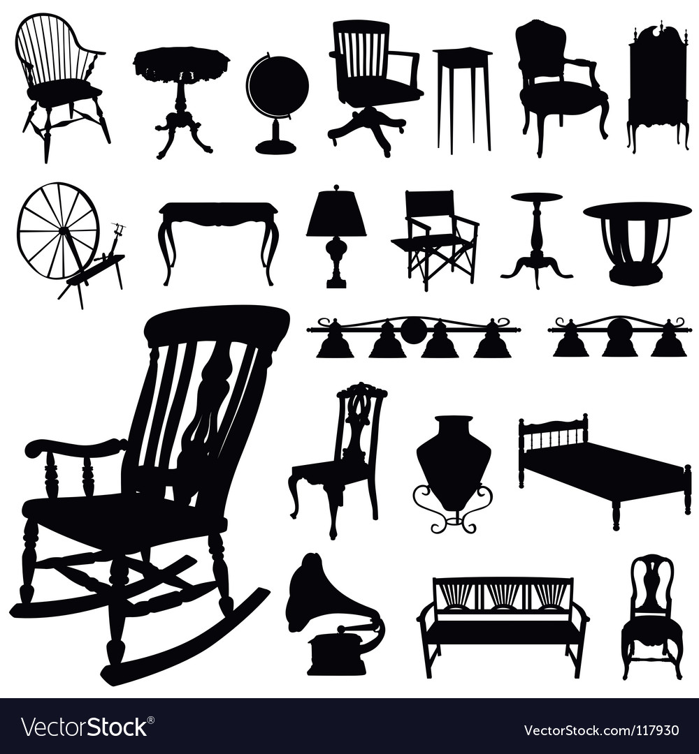 Set of antique furniture vector image