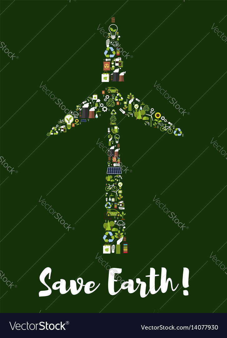Wind turbine symbol made up of ecology icons vector image