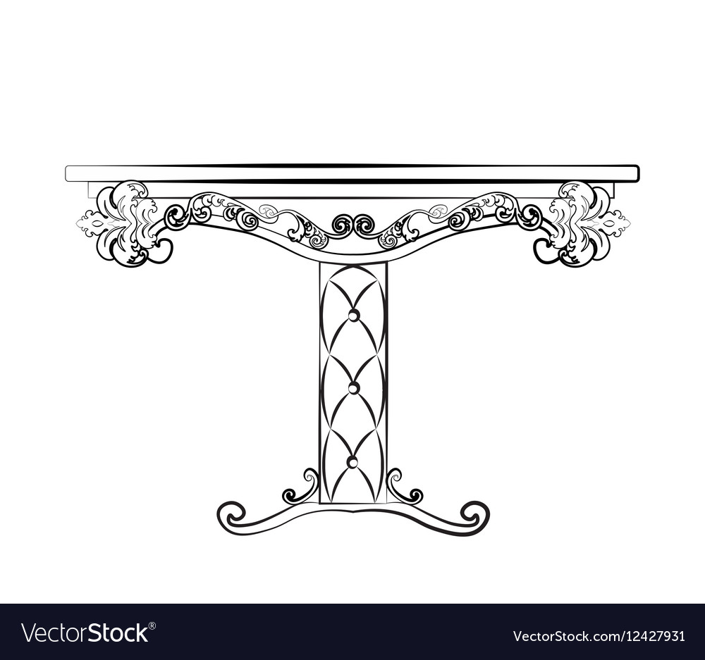 Elegant Table furniture quilted with leather vector image