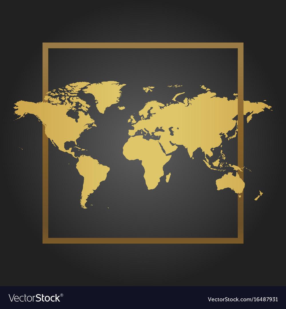 Golden political world map in black background vector image gumiabroncs Images