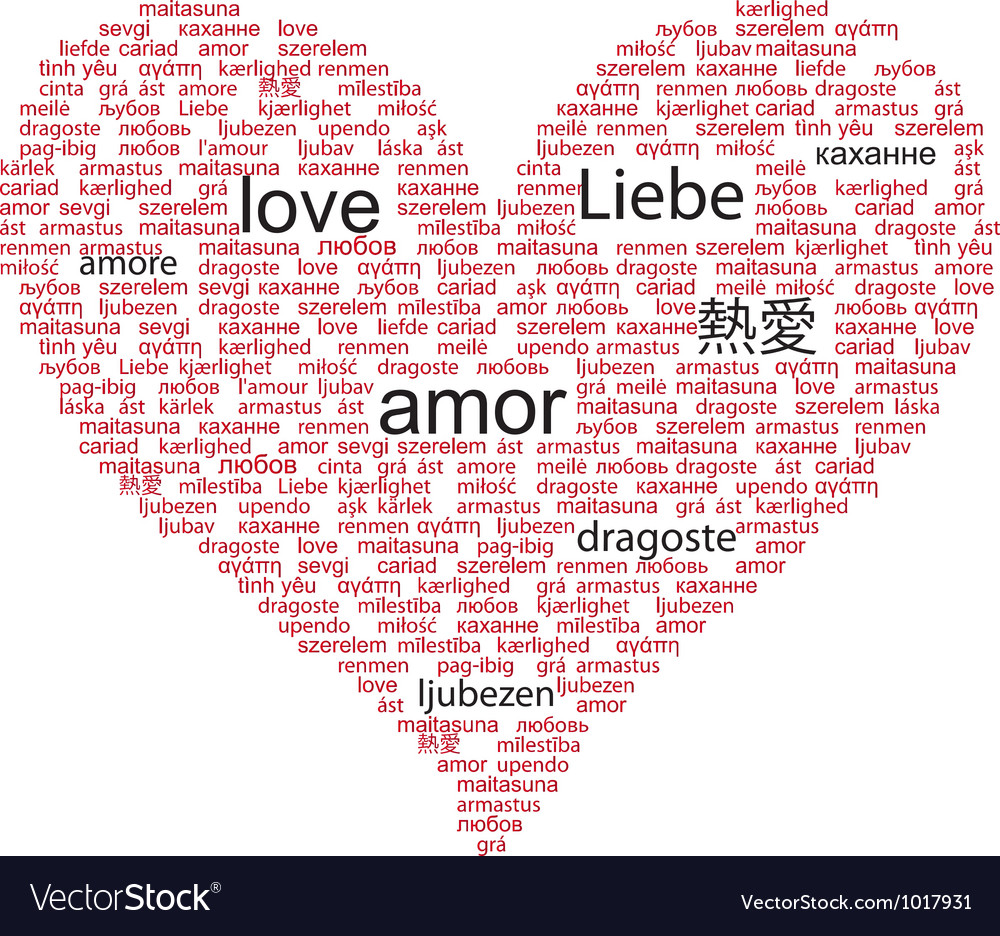Love Concept Word In Many Languages Of The World Vector Image - How many languages in the world are there