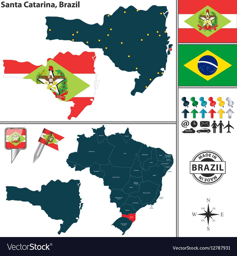Map of Santa Catarina vector image