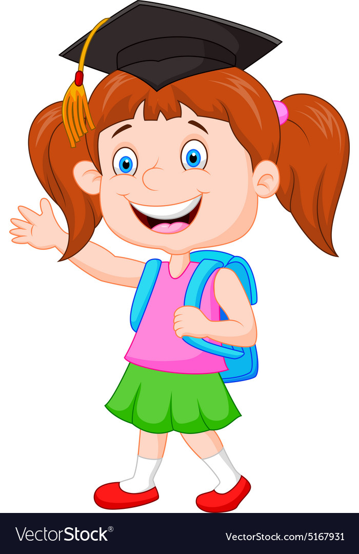 Schoolgirl ready go to school vector image