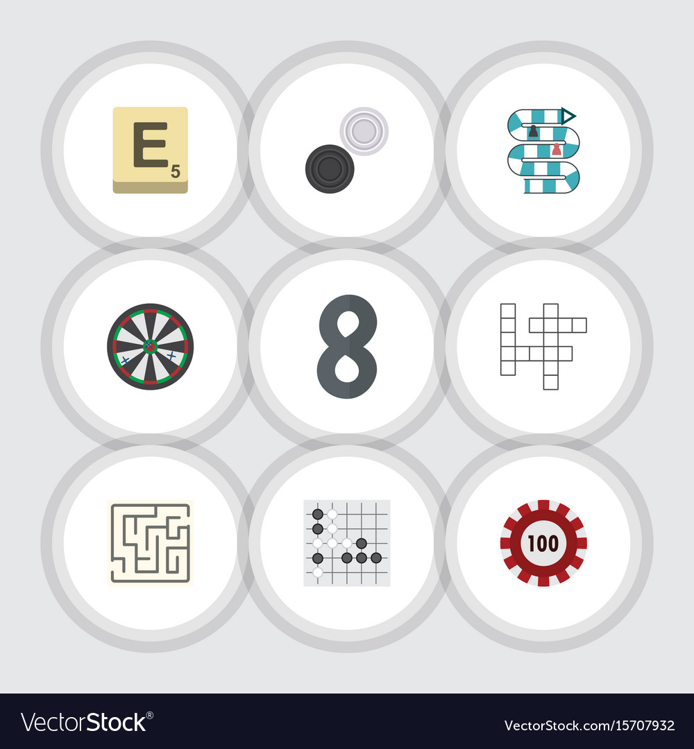 Flat icon entertainment set of mahjong vector image